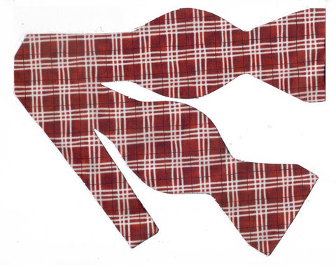 CLASSIC WHITE PLAID ON CRIMSON RED BOW TIE - Bow Tie Expressions