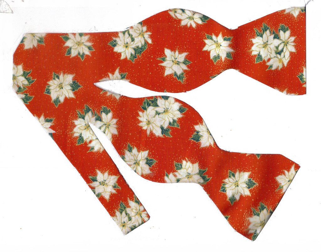 Christmas Bow tie / White Poinsettias on Red / Metallic Gold / Self-tie & Pre-tied Bow tie - Bow Tie Expressions