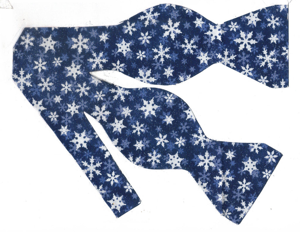 Christmas Bow tie / White Snowflakes on Navy Blue / Self-tie & Pre-tied Bow tie - Bow Tie Expressions