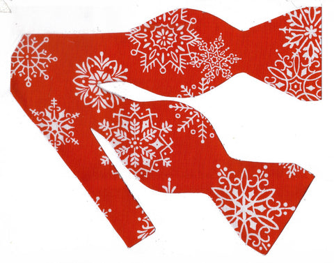 WINTER SNOW BOW TIE - WHITE SNOWFLAKES TOSSED ON RED - Bow Tie Expressions  - 1