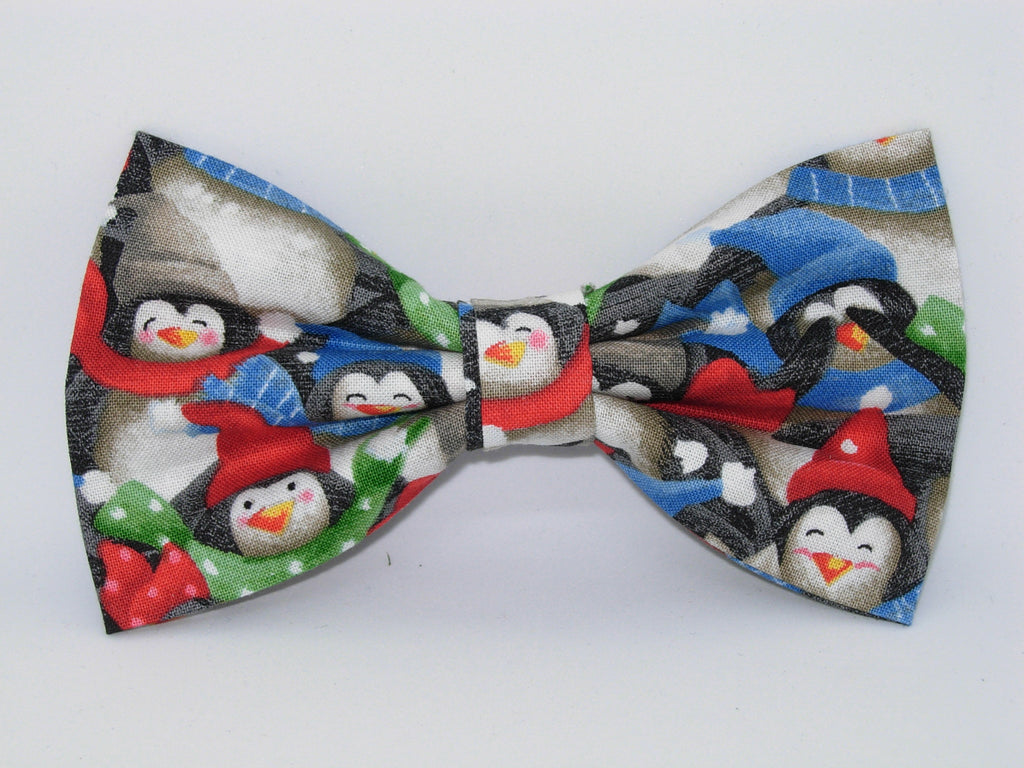 Christmas Bow tie / Happy Winter Penguins / Pre-tied Bow tie