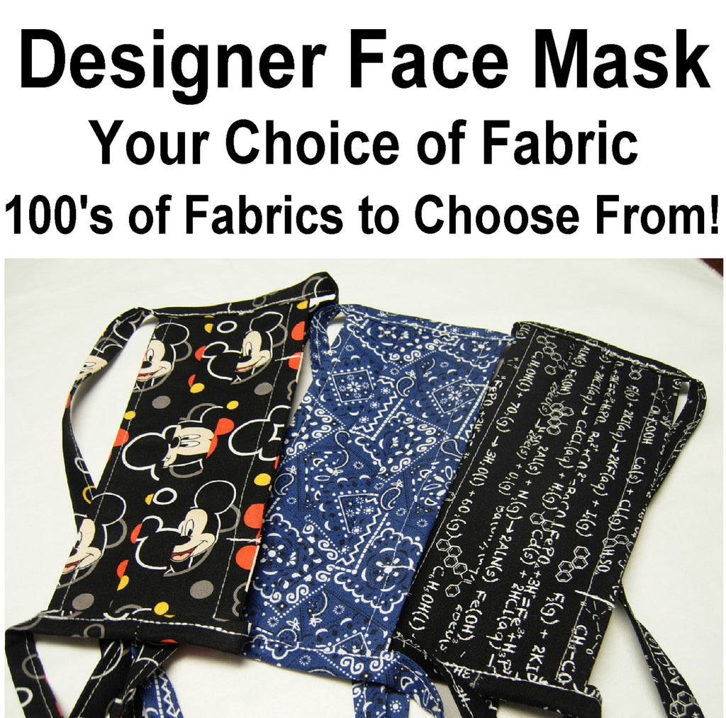 Designer Face Mask / Reusable & Washable / Your choice of Fabric / 3 Layers of 100% Cotton / Filter Pocket / Tie Backs / Nose Wire / Made in USA - Bow Tie Expressions