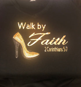 Walk By Faith Black/Gold Sequin Heels