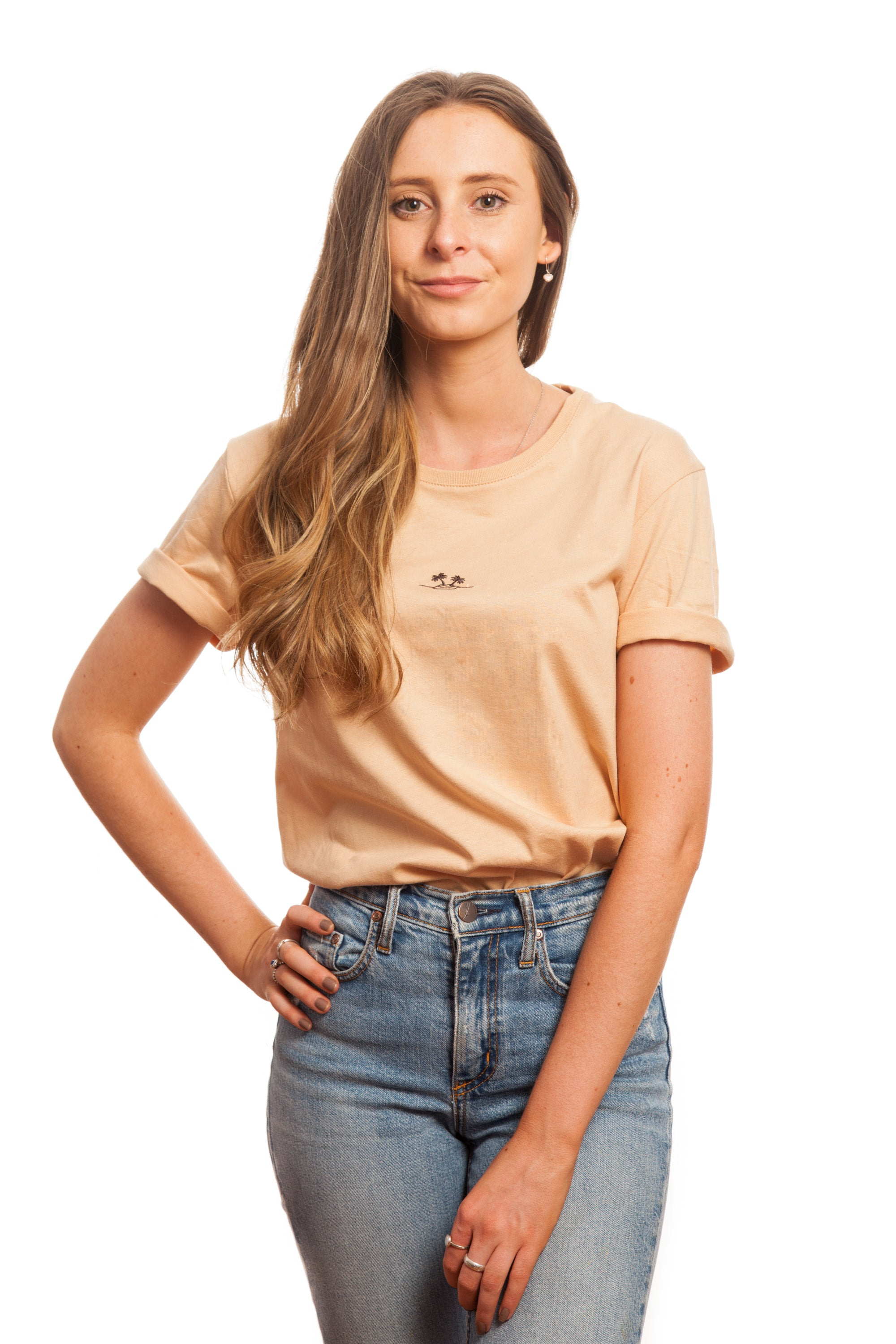 Tan Embroidered Basic // Palm