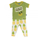 Print SS PJ Set- Natural Pineapple