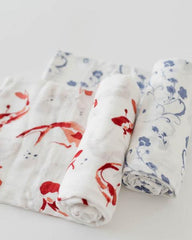 Deluxe Muslin Swaddle 2 Pack- Porcelain Pond