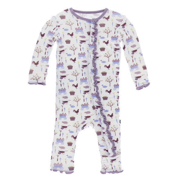 Girl Natural Farm Muffin Ruffle Coverall with Snaps