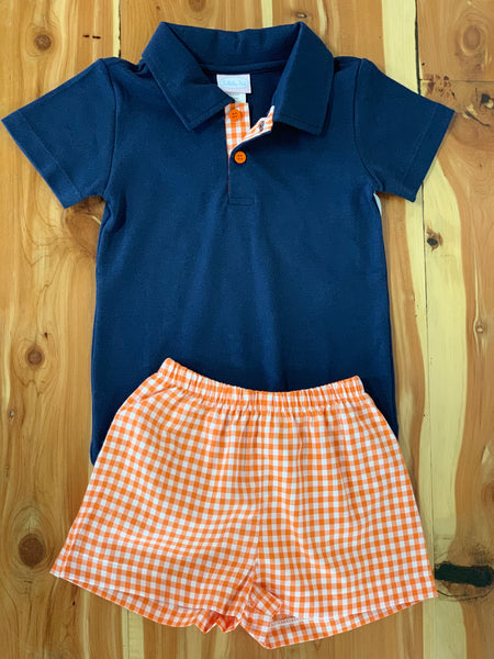 Navy Polo with Orange Gingham Shorts