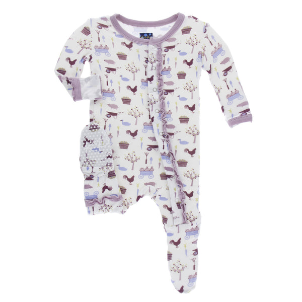 Girl Natural Farm Muffin Ruffle Footie with Snaps