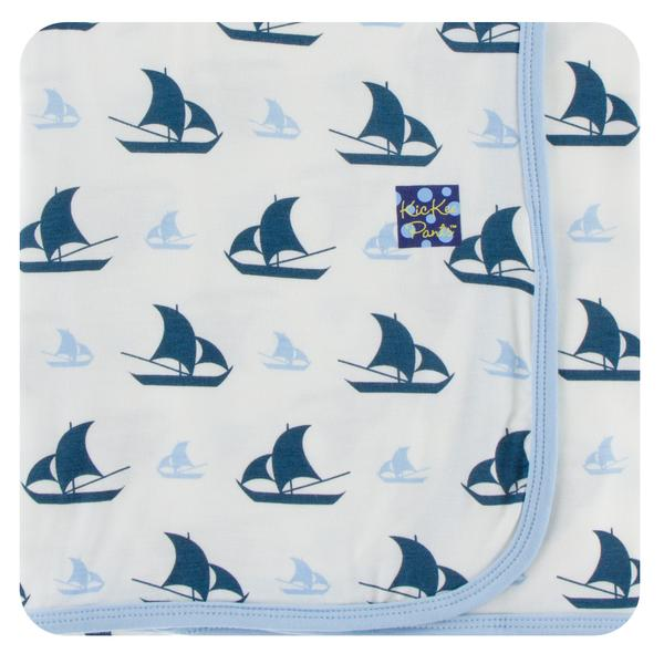 Print Swaddling Blanket- Natural Sailboat