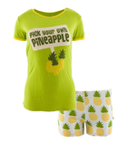 Print Women's SS PJ Set w/ Shorts- Natural Pineapple
