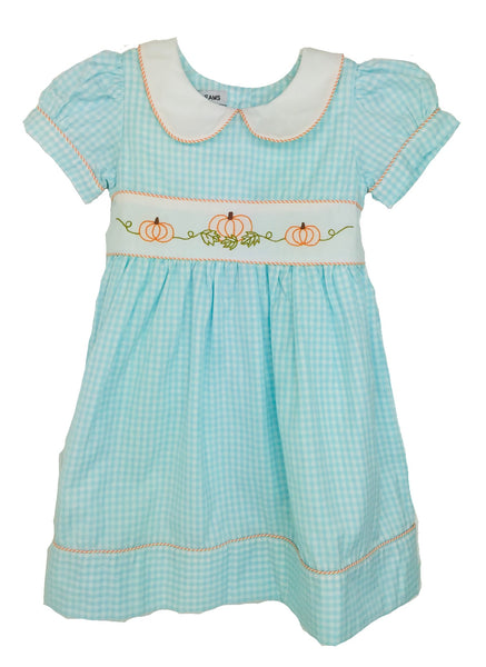 Aqua Gingham Pumpkin Dress