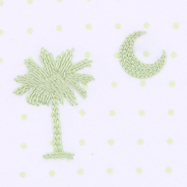 Palmetto Baby Embroidered Bib Celery