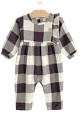 Buffalo Check Crinkle Side Button Romper