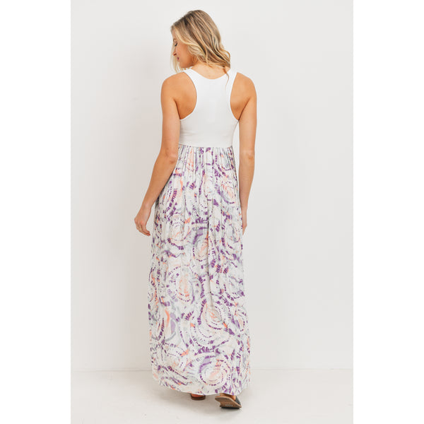 Summer Tie Dye Tank Maternity Maxi Dress