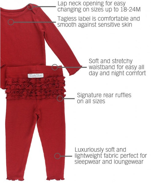Cranberry Snuggly 2pc Ruffled Pajamas