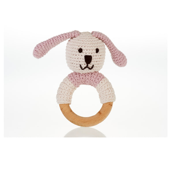 Organic Pink Doggie wooden ring rattle