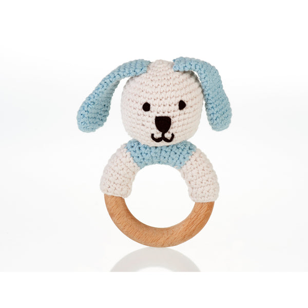 Organic Blue Doggie wooden ring rattle