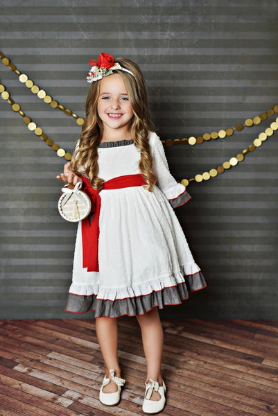 White and Gray Holiday Ruffle Dress