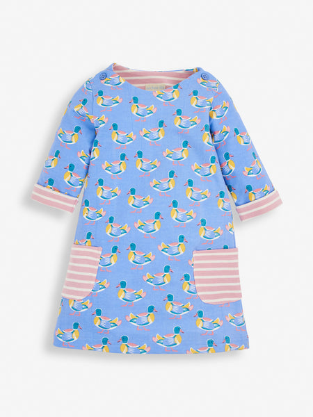 Blue Duck Print A Line Dress