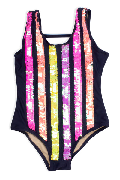 Navy Flip Sequin One Piece Swimsuit
