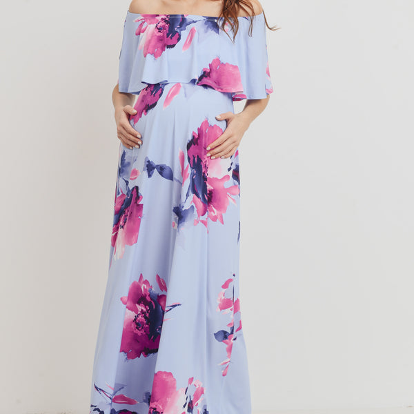 Floral Ruffle Off Shoulder Maxi Maternity Dress