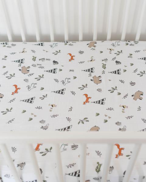 Cotton Muslin Crib Sheet Forest Friends