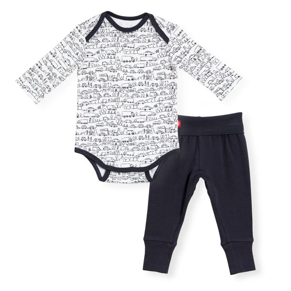 Going places organic cotton magnetic bodysuit + harem pants