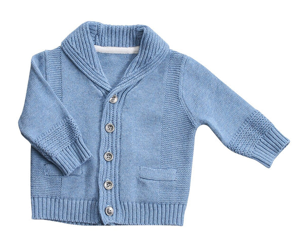 Blue Heather Shawl Collar Cardigan