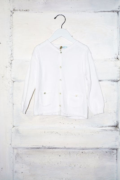 White Boys Pleated Cardigan