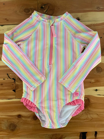 Girls Rainbow Stripe LS One Piece Rashguard