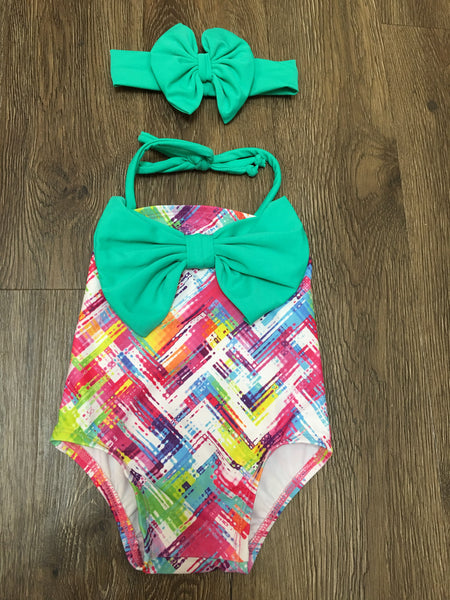 Bow One Piece Swim w/ Bow Headband- Mint Plaid