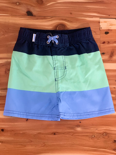 Mint Color Block Swim Trunks