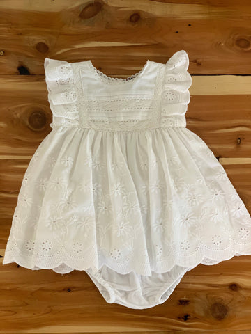 White Border Eyelet Empire Dress