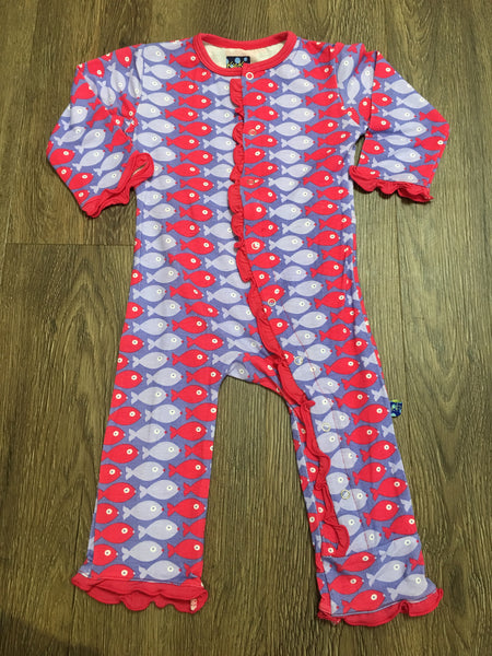 Print Ruffle Coverall Forget Me Not Piranha