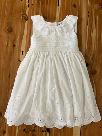 White Border Eyelet Dress