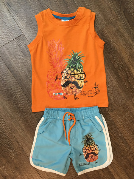 Pineapple Man Tank and Swim Short Set