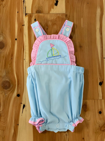 Brooke Bib Bubble with Sailboat Embroidery