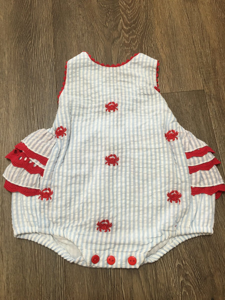 Crab Embroidered Romper