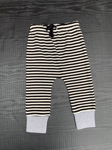 Organic Striped Pant - Black and White