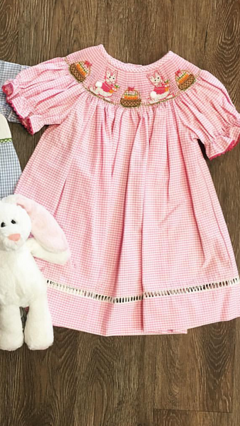 Bunnies Garden Smocked Bishop