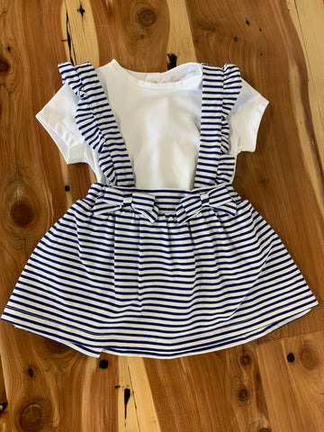 Navy Skirt w/ Suspenders Set