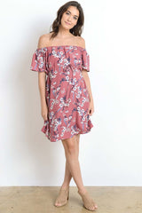 Leaf Printed Round Neck Maternity Loose Dress- Mauve