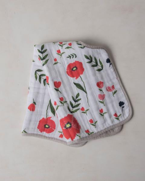 Cotton Muslin Burp Cloth- Summer Poppy