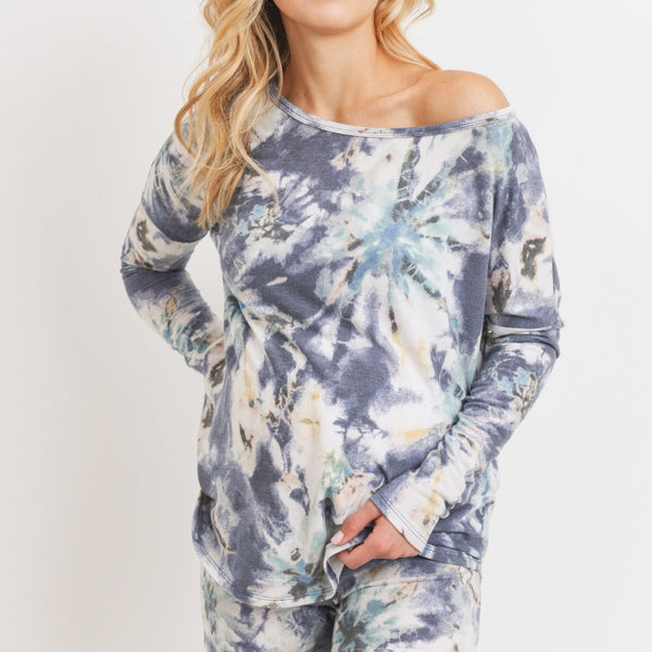 Long Sleeve and Short Tie-Dye Loungewear Set