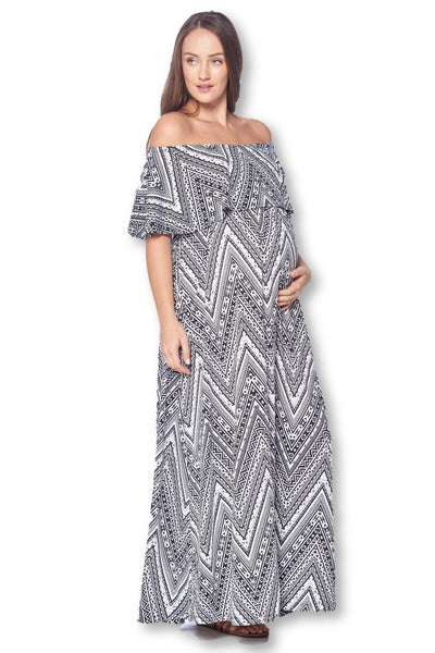 Open Shoulder Maxi Maternity Dress