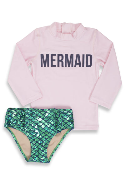 PINK MAGIC MERMAID RASHGUARD SET (SCALES APPEAR WHEN WET!)