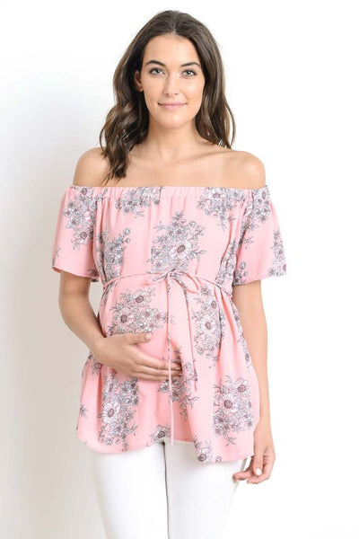 Floral White & Pink off the Shoulder Maternity Top