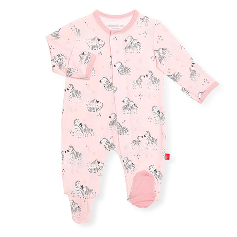 Pink little ones magnetic modal footie