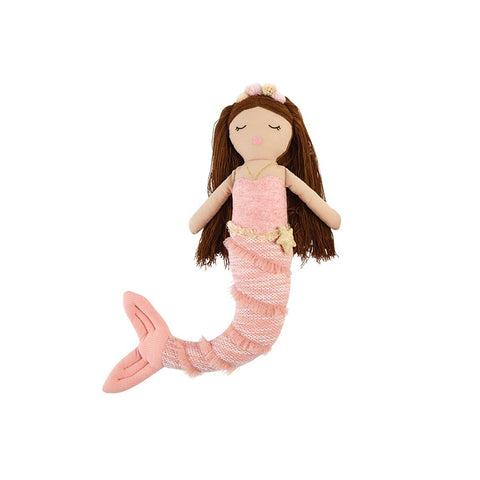 Pink Linen Mermaid Doll